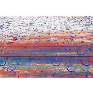 Parvez Taj - 'Blue Umbrella Rings' Painting Print on White Wood