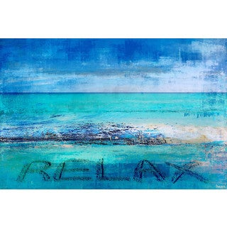 Parvez Taj - 'Blue Relax' Painting Print on Wrapped Canvas