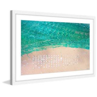 Parvez Taj - 'White Umbrella Beach' Framed Painting Print