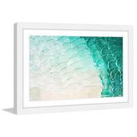 Parvez Taj - 'Aqua Waves' Framed Painting Print - Multi