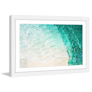 Parvez Taj - 'Aqua Waves' Framed Painting Print - Multi