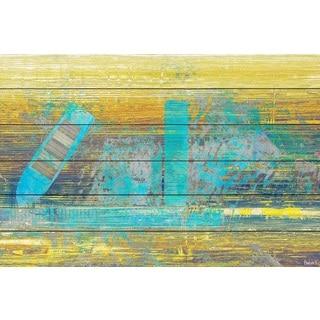 Parvez Taj - 'Blue Boat Docked' Painting Print on White Wood