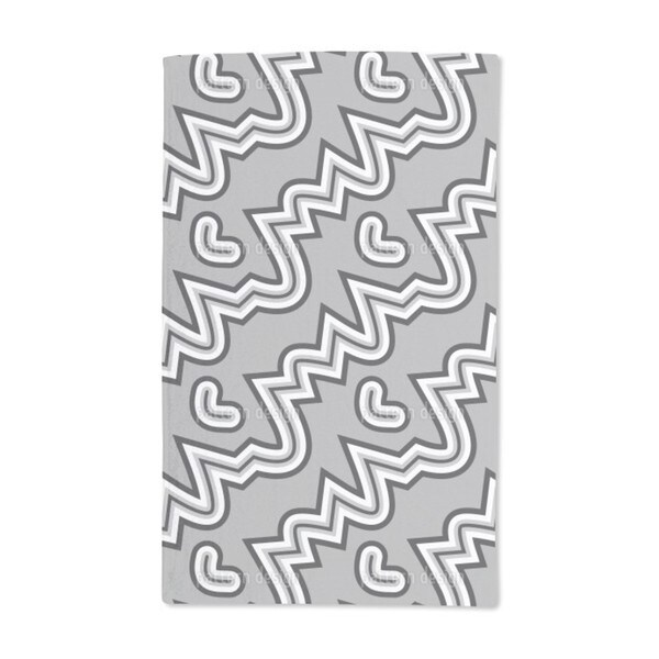 Heartbeat Black and White Hand Towel (Set of 2)