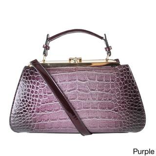 Rimen & Co. Shiny Patent Faux Leather Animal Print Doctor Style Handbag