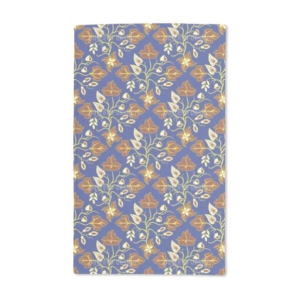 Ethno Leaves Blue Hand Towel (Set of 2)
