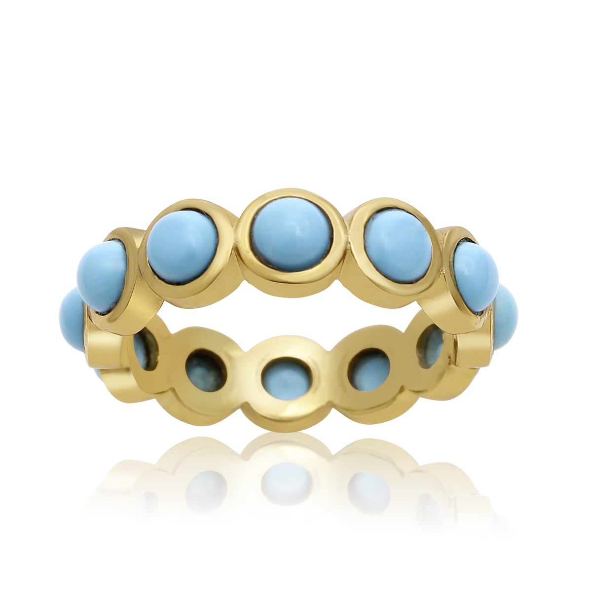 10 TGW Turquoise Eternity Ring In Yellow Gold Over Sterli...
