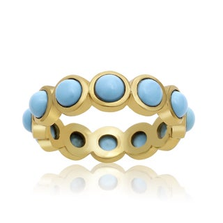 10 Carat Turquoise Eternity Ring In 14K Yellow Gold Over Sterling Silver