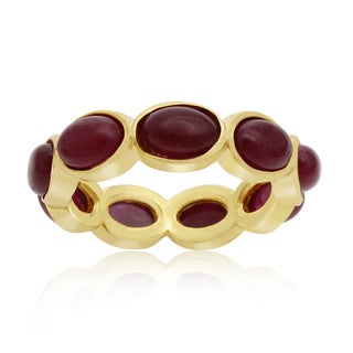 10 Carat Ruby Eternity Ring In 14K Yellow Gold Over Sterling Silver