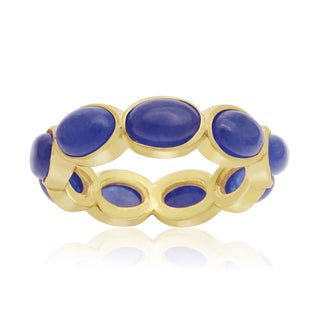 10 Carat Blue Sapphire Eternity Ring In 14K Yellow Gold Over Sterling Silver