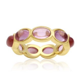 10 Carat Raspberry Quartz Eternity Ring In 14K Yellow Gold Over Sterling Silver