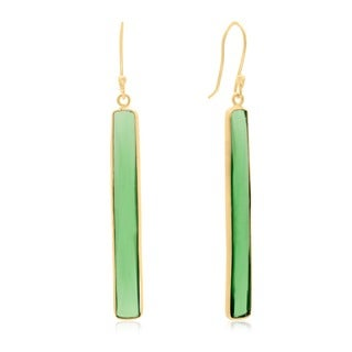 14k Yellow Gold 17ct Emerald Quartz 1 3/4-inch Bar Earrings