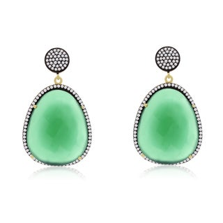 60 Carat Free Form Emerald and CZ Dangle Earrings In 14K Yellow Gold Over Sterling Silver