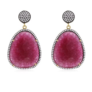 60 TGW Free Form Ruby and CZ Dangle Earrings In Yellow Gold Over Sterling Silver