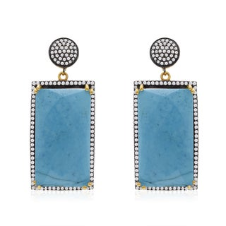 30 Carat Emerald Shape Turquoise and CZ Dangle Earrings In 14K Yellow Gold Over Sterling Silver
