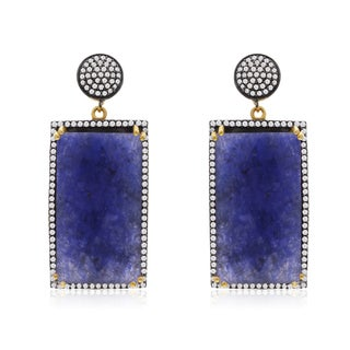 30 Carat Emerald Shape Blue Sapphire and CZ Dangle Earrings In 14K Yellow Gold Over Sterling Silver