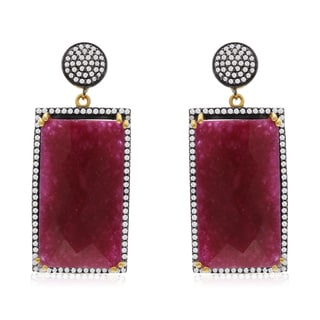 30 Carat Emerald Shape Ruby and CZ Dangle Earrings In 14K Yellow Gold Over Sterling Silver