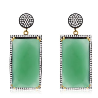30 Carat Emerald Shape Emerald and CZ Dangle Earrings In 14K Yellow Gold Over Sterling Silver