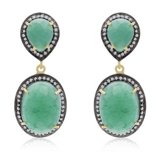 28 TGW Emerald and CZ Drop Earrings In Yellow Gold Over Sterling Silver