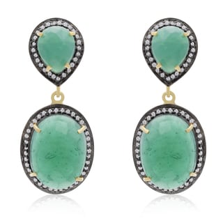 28 Carat Emerald and CZ Drop Earrings In 14K Yellow Gold Over Sterling Silver