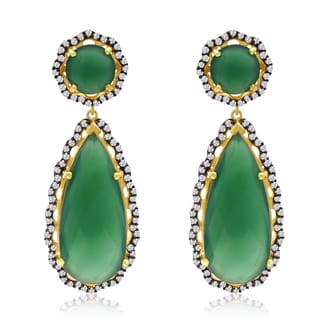 40 Carat Emerald and CZ Teardrop Earrings In 14K Yellow Gold Over Sterling Silver