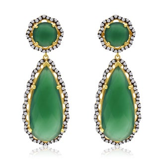 40 TGW Emerald and CZ Teardrop Earrings In Yellow Gold Over Sterling Silver