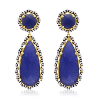 40 Carat Blue Sapphire and CZ Teardrop Earrings In 14K Yellow Gold Over Sterling Silver