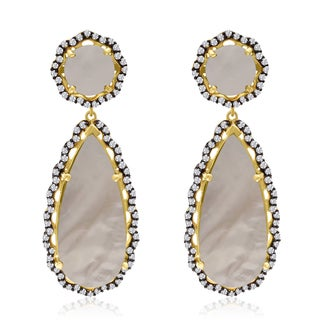 40 Carat Mother of Pearl and CZ Teardrop Earrings In 14K Yellow Gold Over Sterling Silver