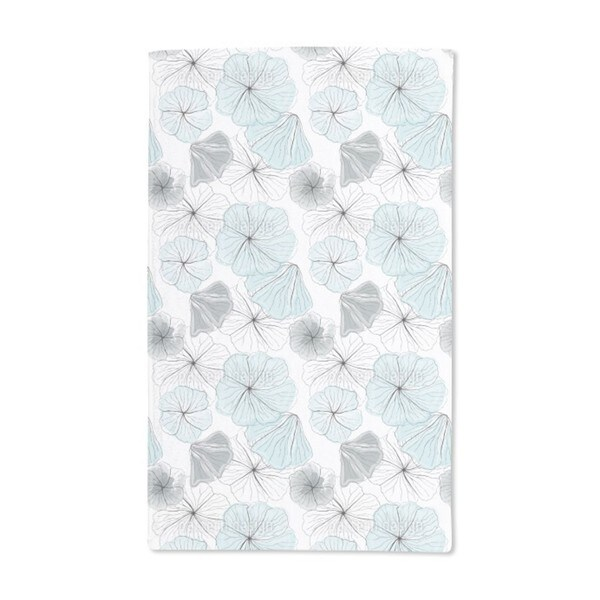 Hibiscus Blossoms Aqua Hand Towel (Set of 2)