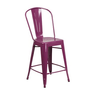 Offex Metal 24-inch Indoor/Outdoor Counter-height Stool with Back