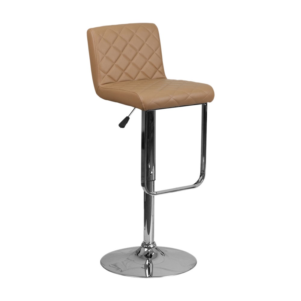 Offex Vinyl Height-adjustable Barstool with Chrome Base (...