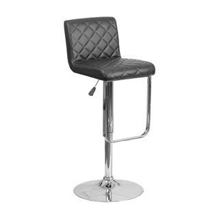 Offex Vinyl Height-adjustable Barstool with Chrome Base