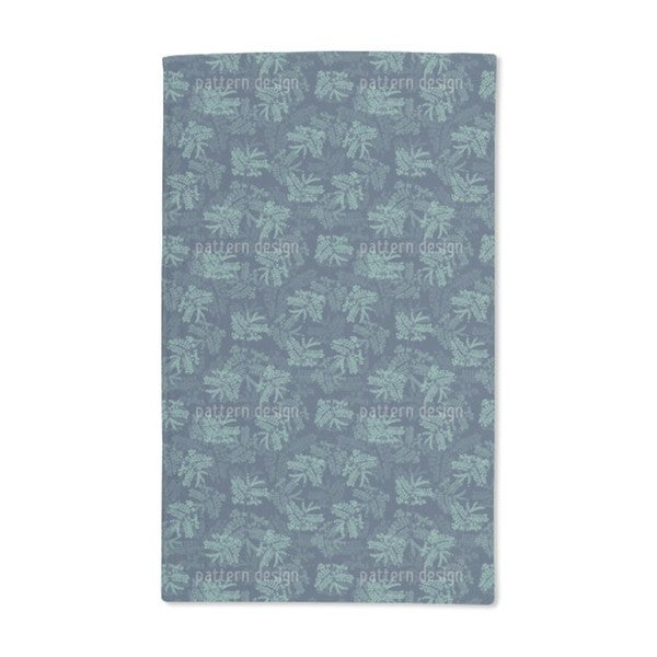 Acacia Leaves Blue Hand Towel (Set of 2)