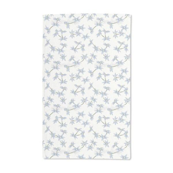 Blue Rain Flowers Hand Towel (Set of 2)