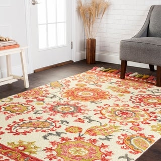 Hand-hooked Lena Floral Paisley Rug (7'9 x 9'9)
