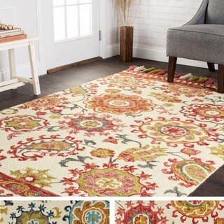 Hand-hooked Lena Floral Paisley Rug (5'0 x 7'6) - 5' x 7'6