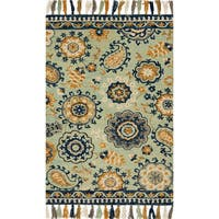 Hand-hooked Lena Multi Floral Paisley Rug - 7'9 x 9'9