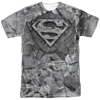 Superman/Rock & Rumble (Front/Back Print) Short Sleeve Adult Poly Crew in White