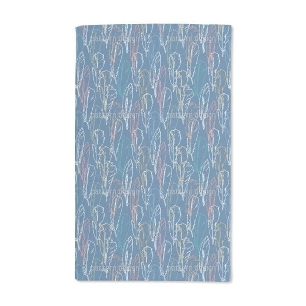 Feathers Handdrawn Blue Hand Towel (Set of 2)