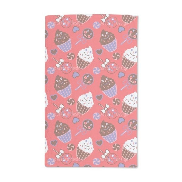 Happy Desserts Red Hand Towel (Set of 2)