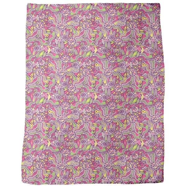 Tadpole and Fish Ethno Fleece Blanket