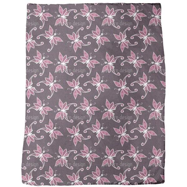 Butterflies on Leaves Fleece Blanket