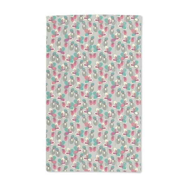 Lucky Flowers Grey Hand Towel (Set of 2)