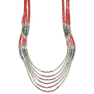 Coral Dyed Glass Bead Hand-crafted Multistrand Necklace