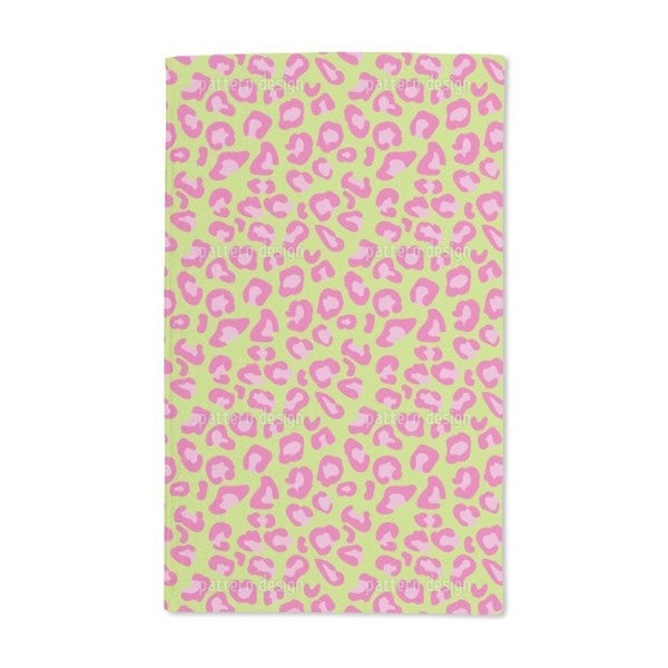 Leopard Animal Print Lime Hand Towel Set Of 2