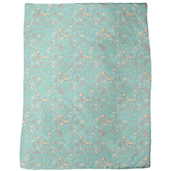 Natasha's Garden Dream Mint Fleece Blanket