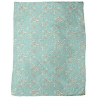 Natasha's Garden Dream Mint Fleece Blanket