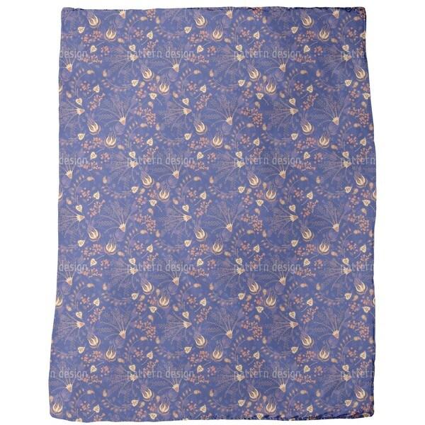 Natasha's Enchanted Garden Blue Fleece Blanket