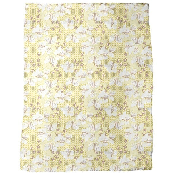 Oriental Blossoms Vanilla Fleece Blanket