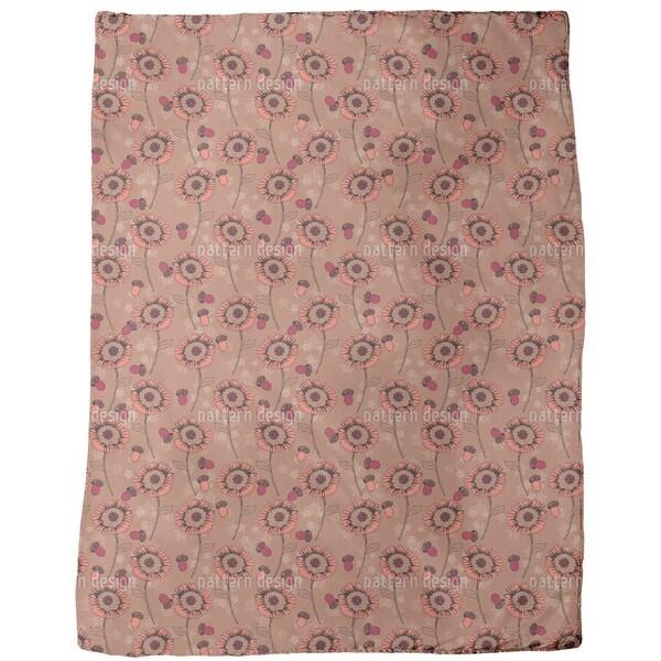 Boehme Fantasy Flowers Brown Fleece Blanket