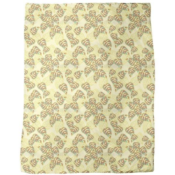 Birch Leaf Yellow Fleece Blanket